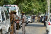 Police at the site of the encounter between the Special Cell and a gang of criminals in the Chattarpur area of south Delhi. Four criminals including the gang leader Rajesh Bharti were killed in the en