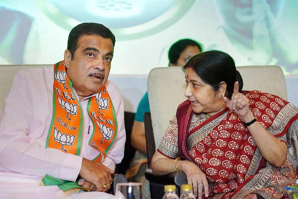Image result for sushma swaraj nitin gadkari lok sabha election