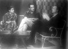 (From left) Malik interviewing Satyajit Ray and Marlon Brando