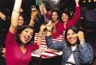 Dazed in Delhi: Beer's to the good times: women fans at TGIF celebrate Sachin's catch to dismiss Vaas on March 10.