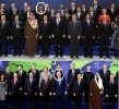 Spot the difference: US president has moved to the second row - symbolic change showing a new world?
