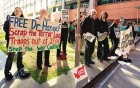 Aussie protesters rally in support of Dr Haneef outside the Dept of Immigration and Citizenship office in Sydney