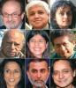 Top Row (L-R): Salman Rushdie, Amitav Ghosh, Arundhati Roy<br> Middle Row (L-R): Mul Raj anand, Meenakshi Reddy Madhavan, Richard Crasta<br> Bottom Row (L-R): Shobha De, Tarun Tejpal, Shashi Tharoor<br>