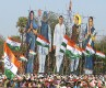 Cut-outs at a Congress rally in Secunderabad