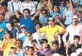<b>Going Ape: Spectators make 'monkey impressions' as Andrew Symonds comes out to bat in the seventh ODI in Mumbai</b>