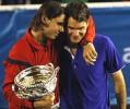 Rafael Nadal hugs Roger Federer after winning the Men's singles final match at the Australian Open Tennis Championship