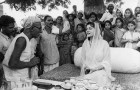 Maharani Gayatri Devi, amid the peasants, epitomised the French chiffon 'n pearls look <a href=