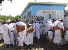 Spilling over: Indian pilgrims lined up outside toilets in Ararat