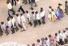 Job-seekers at an employment fair in Hyderabad