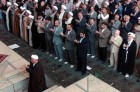 Former Iranian preisdent Akbar Hashemi Rafsanjani, foreground left, leads the Friday prayers at the Tehran University campus in Iran, Friday, Oct. 24, 2003