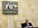 Justice John Hansen sits in the courtroom prior to the start of the appeal hearing at the Adelaide Federal Court
