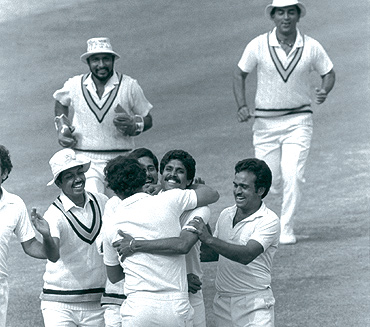 Image result for Indian team in the Lord's Ground in 1983 Kapil Dev's
