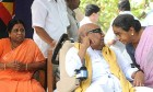 Two much... The DMK patriarch with his wives Rajathiammal (left) and Dayaluammal