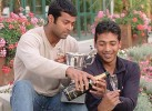 Paes and Bhupathi after the '01 French Open Men's Doubles win