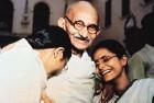 Bapu with granddaughters Abha and Manu at Birla House in Delhi