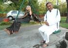 Rock-a-bye: Mani Shankar Aiyar and wife Suneet steal a few Lutyens moments