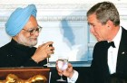 To 123 then: Manmohan Singh with George Bush