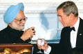 To 123 then: Manmohan Singh with George Bush
