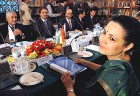 Firm grip: Meera Shankar at a meeting with Pakistani diplomats in Islamabad