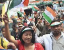 Congress supporters celebrate victory