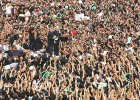 Shout out: Mousavi and other opposition leaders at a June 18 rally in Tehran