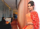 Lady in red: The Begum at a Delhi hotel to launch her talk show