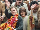 The new wave: Omar Abdullah and wife Payal at a post-election victory rally