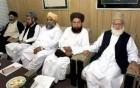 from right, Qazi Hussain Ahmed, Shah Ahmed Noorani, Fazalur Rehman, Samiul Haq and Sajjid Naqvi.