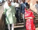 Pataudi and Saba leaving Bhopal's old Moti Masjid