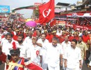Red dust: Marxist boss Pinarayi Vijayan at a rally