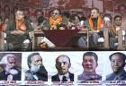 Maoist leader Prachanda(centre) on a dais sporting Communist icons