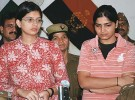 Priyanka and Anju at the police press conference in Meerut