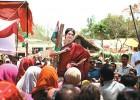 Priyanka addressing the crowds at Rae Bareli