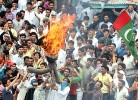 Protesters burn an effigy of Azad at a rally led by Geelani in Srinagar