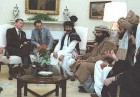 White House blessings for Jihadis: President Ronald Reagan received Afghan Mujahideen fighters in the Oval Office in February 1983.