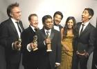 Golden Globes (L-R): Boyle, scriptwriter Simon Beaufoy, Rahman, Anil Kapoor, Freida Pinto, Dev Patel