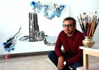 Blue note: The artworld's latest hot property, in his Gurgaon studio