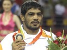 Bronze act: Sushil Kumar on the podium