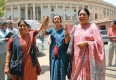 Sushma Swaraj, Brinda Karat and Prabha Thakur after the women's reservation bill was tabled
