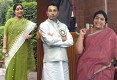 Sushma Swaraj sports her Bharatiya nari look; Jitin Prasada in his loyal khadi attire; Renuka prefers the Mother India appeal