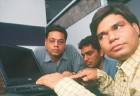 Visually impaired people at an IT class designed for them