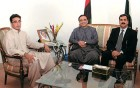 Working title: PM-elect Yusuf Raza Gilani (right) with Zardari and Bilawal Bhutto