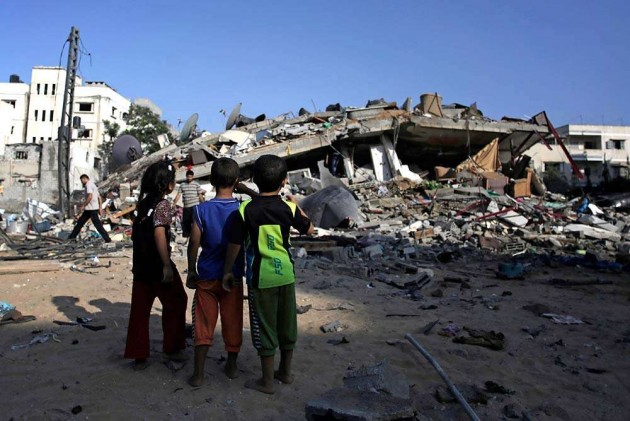 Israeli Airstrike Levels Seven-Floor Office Building in Gaza