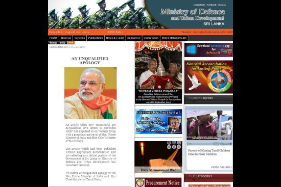 Article Row: Lanka Tenders Apology to Modi, Jayalalitha