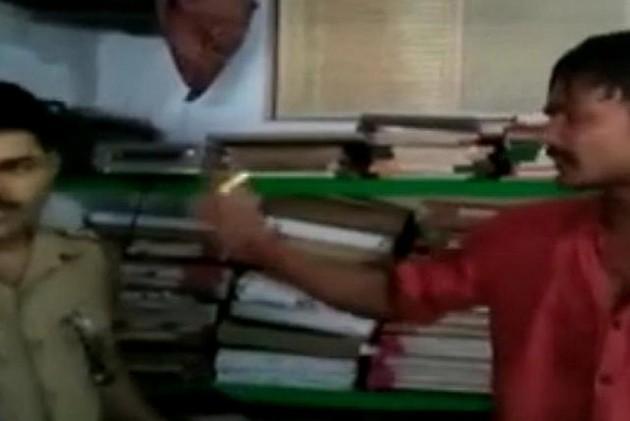 Caught on Camera: Samajwadi Party Leader's Nephew  Slaps Policeman