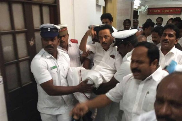 DMK MLAs marshalled out of the Tamil Nadu assembly