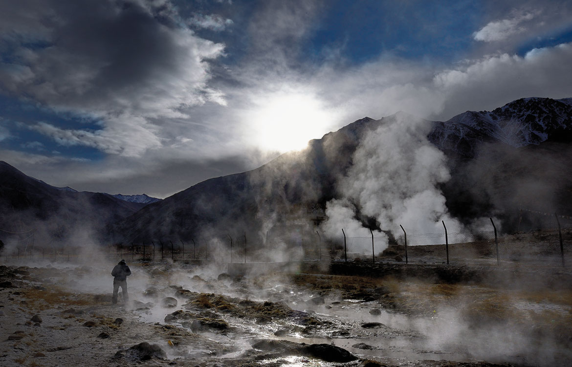 Great gusts of steam rise up to greet a new day at Chumathang, a tourist attraction that in season puts on a mightily toned-down display