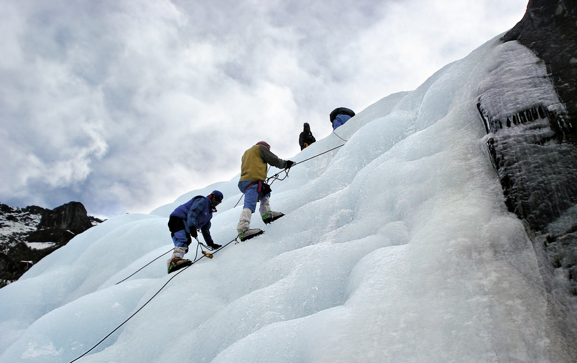 Ice climbers at Yumthang, Sikkim
