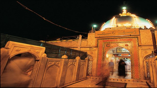 The dome of the Ajmer Sharif Dargah decked with lights