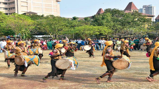 Dancers from Karnataka perform the Dollu Kunitha, a drum dance